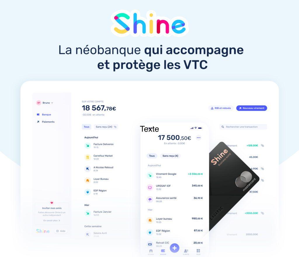 shine néobanque VTC